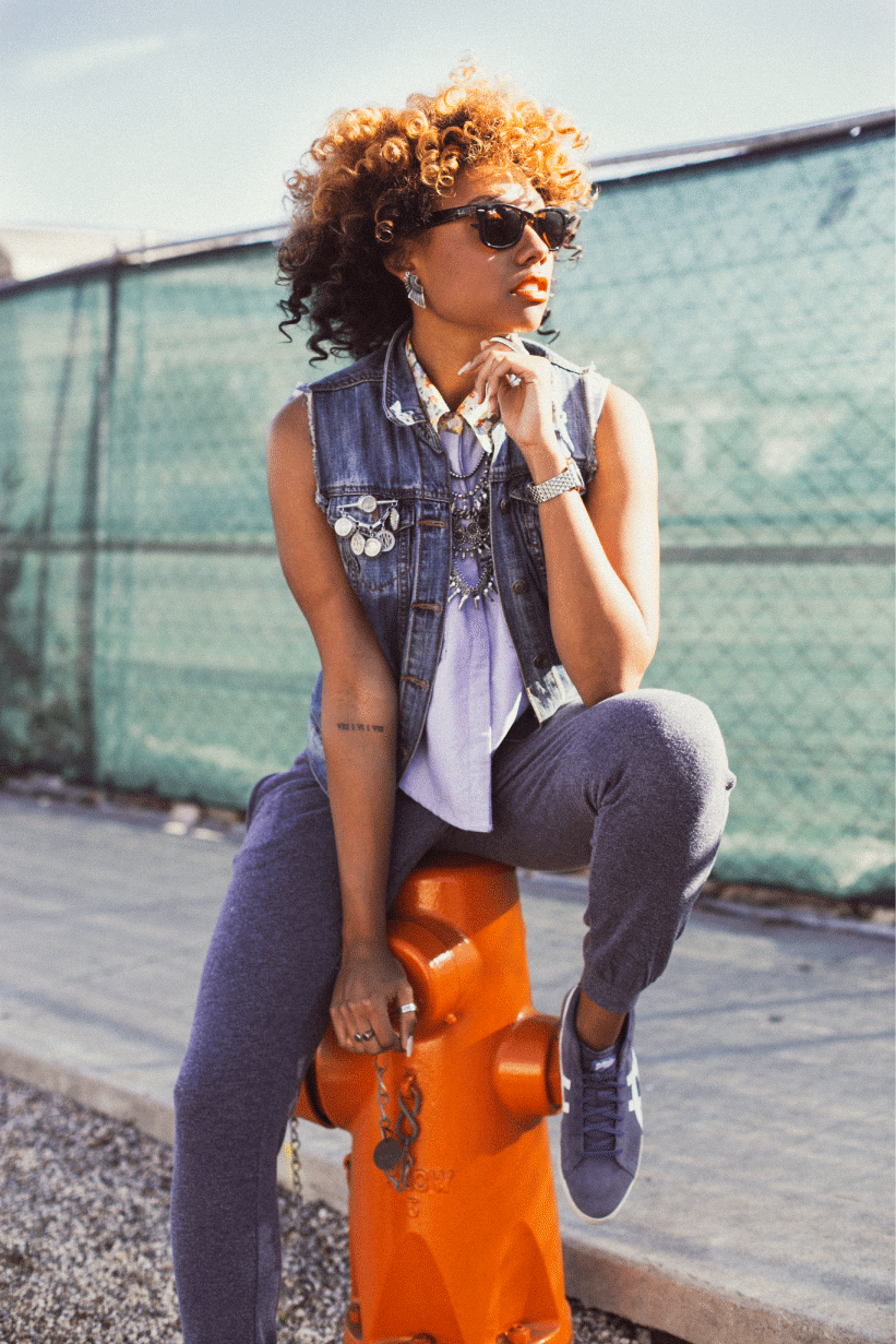 blue and orange outfit