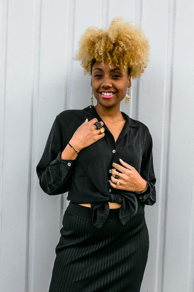 natural hair with thrift store blouse