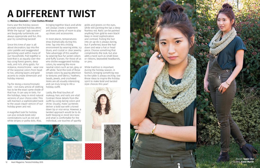 Avari Magazine Stylist Column written by Melissa of Liveclothesminded