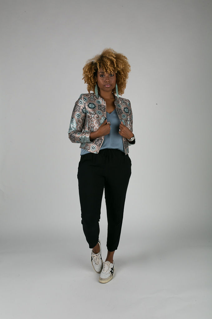 RSEE-LCM-Liveclothesminded-xmmtt-longbeach-7054-bomber jacket-what to wear to work-work outfit-natural hair- curls- how to wear sneakers to work