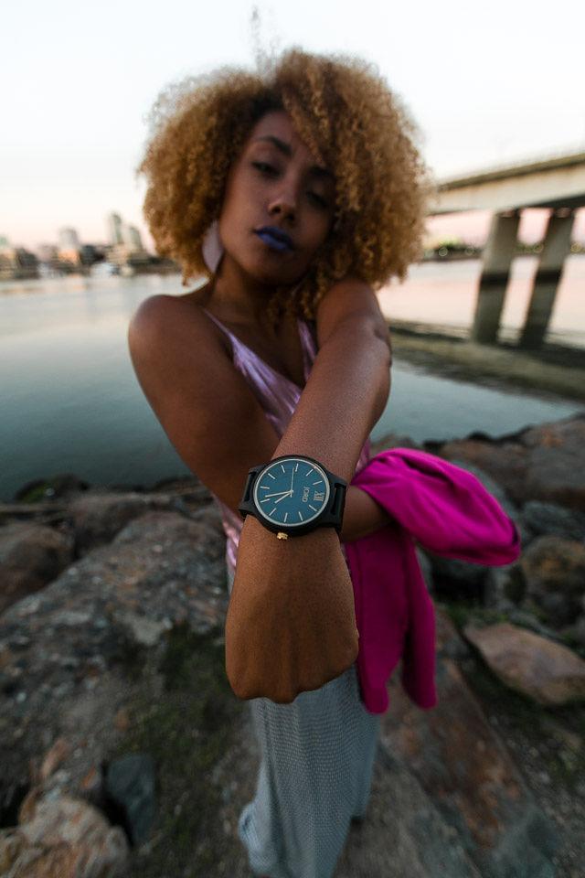 woman wearing jord wood watch